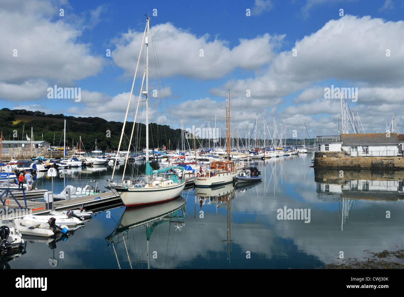 Yachts in the marina at Mylor, near Falmouth, in Cornwall - Stock Image