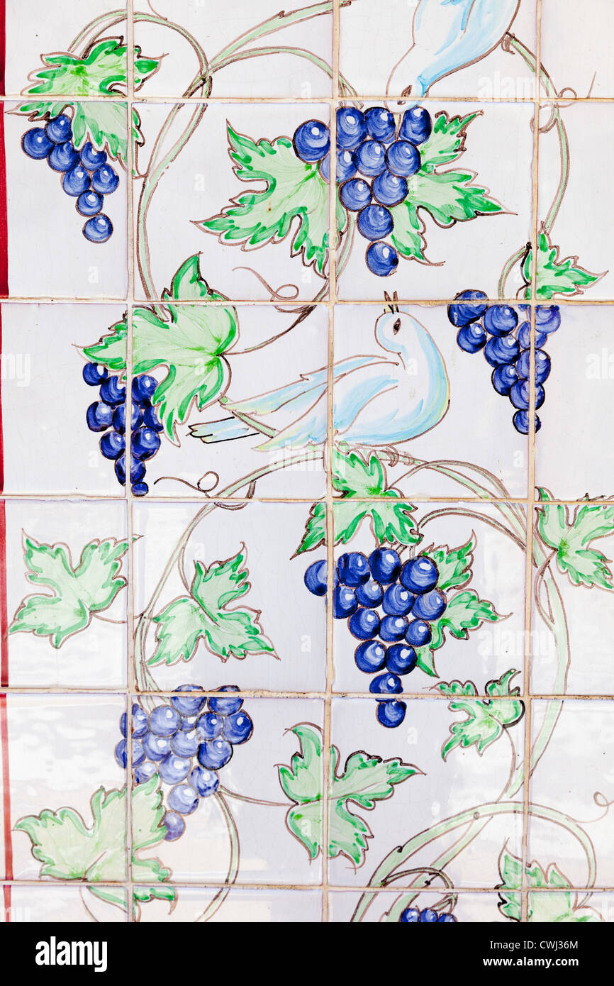 Decorative ceramic wall tiles with grapes in Sault Provence France - Stock Image