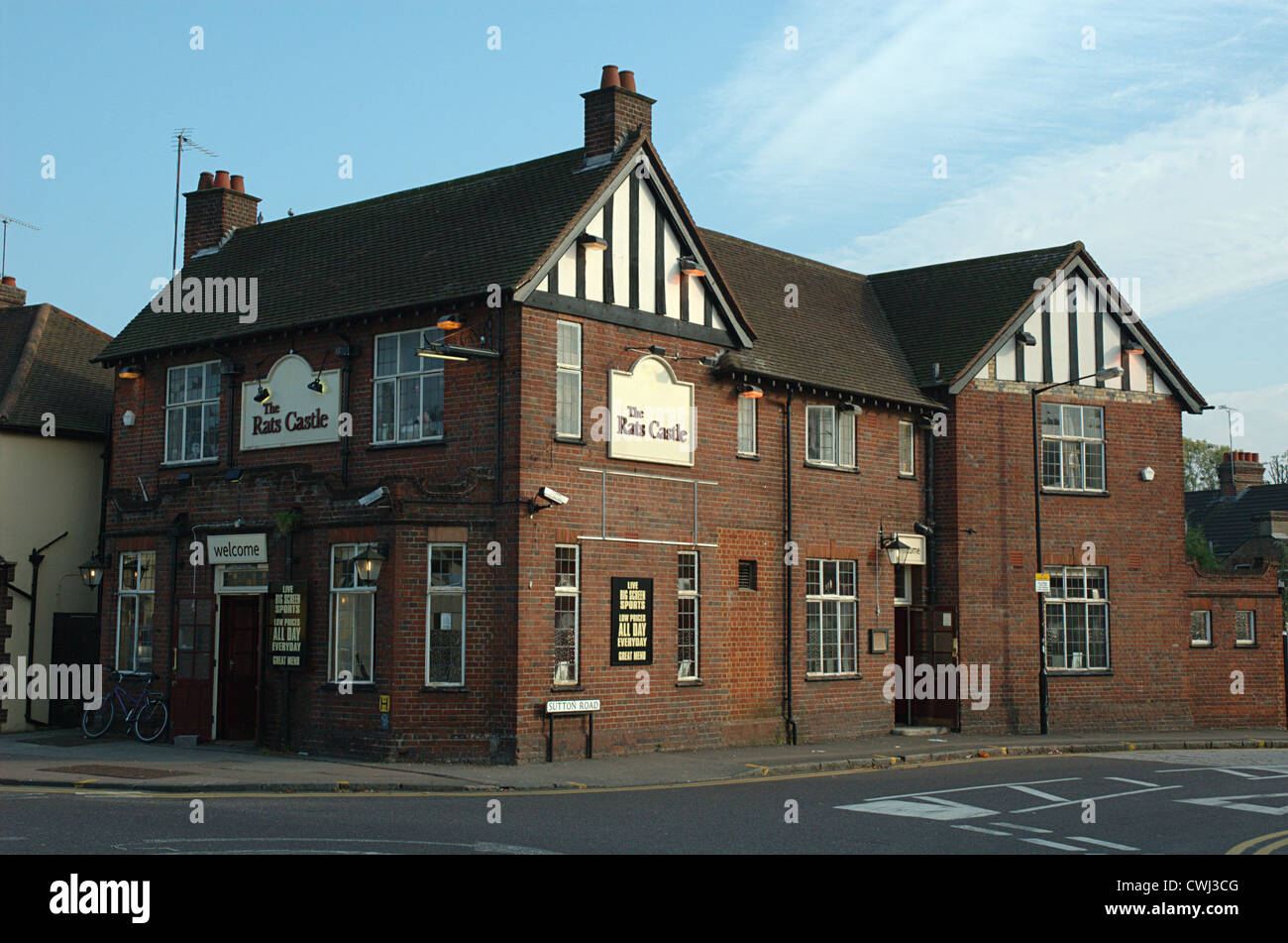 The Rats Castle, corner of Hatfield Road and Sutton Road, St Albans, Hertfordshire, England, UK - Stock Image