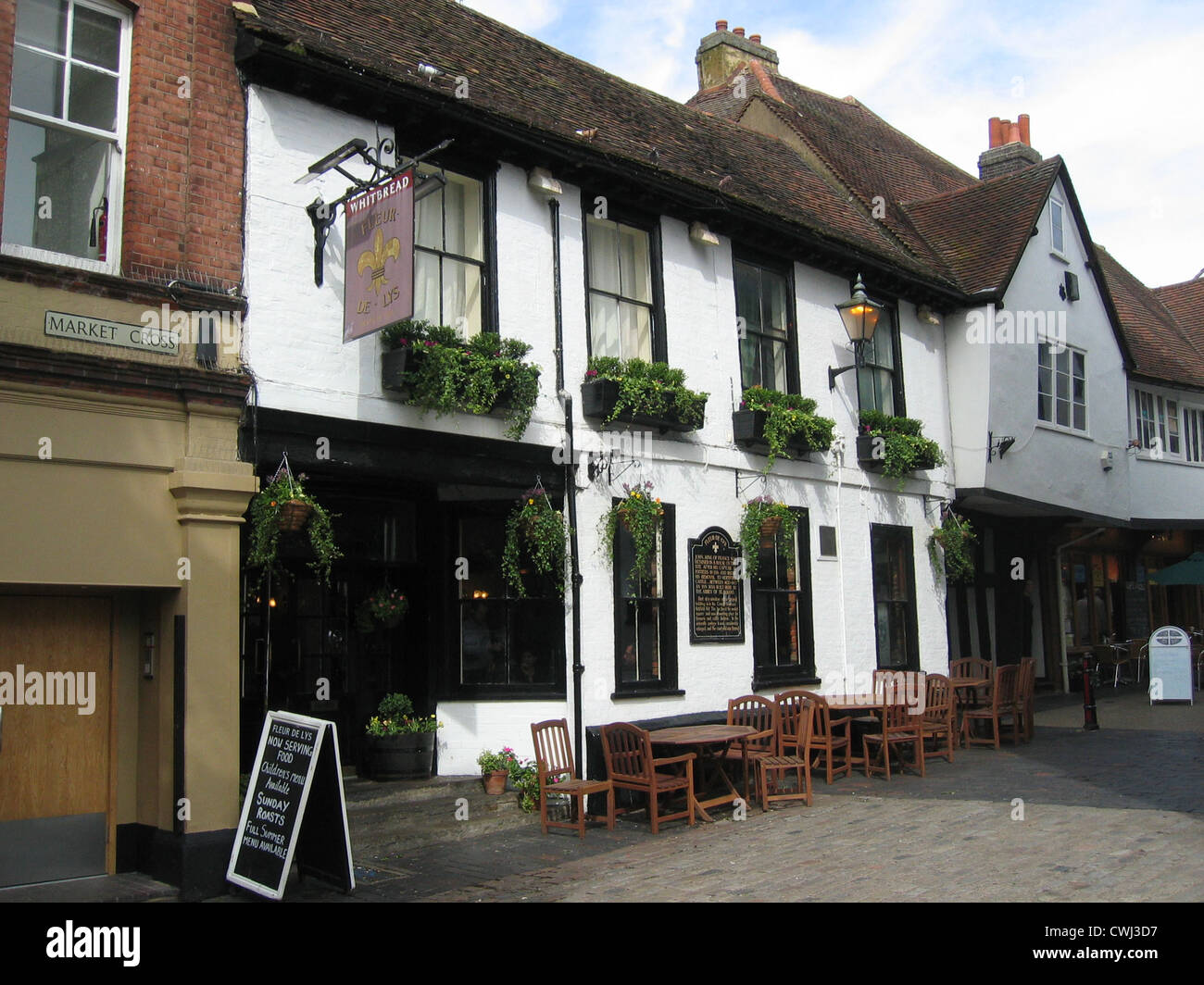 Fleur de Lys, French Row, St Albans, Hertfordshire, England, UK - Stock Image