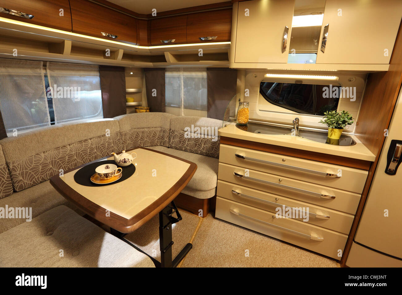 interior of a modern camper van at the caravan salon exhibition 2012 stock photo 50185236 alamy. Black Bedroom Furniture Sets. Home Design Ideas