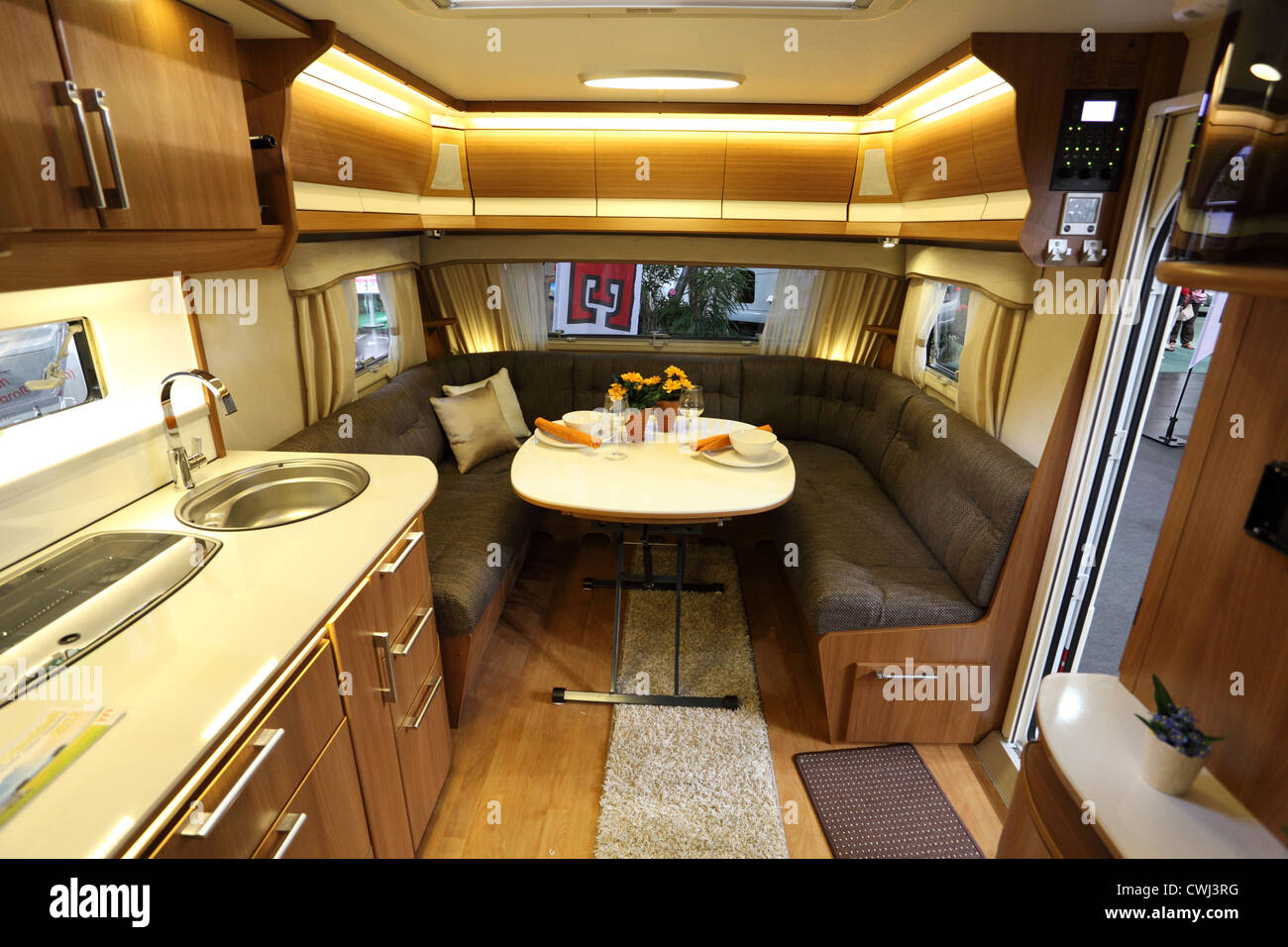 Interior Of A Modern Camper Van At The Caravan Salon Exhibition 2012 On August 27 In Dusseldorf Germany