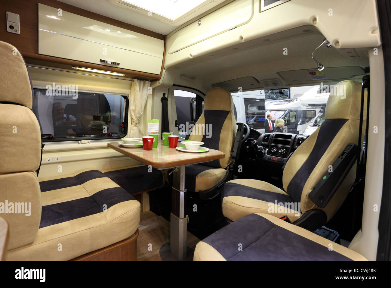 Interior Of A Modern Camper Van At The Caravan Salon Exhibition 2012 On August 27