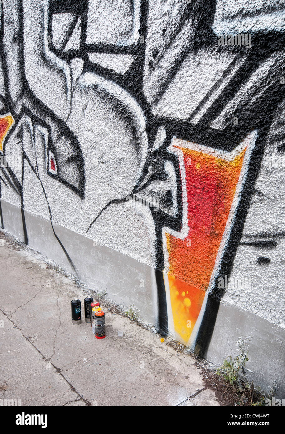 Graffiti and spray cans Stock Photo