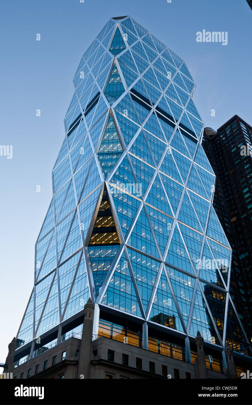 Hearst Tower, LEED green building, only diagonal columns in NYC, Manhattan, New York City - Stock Image