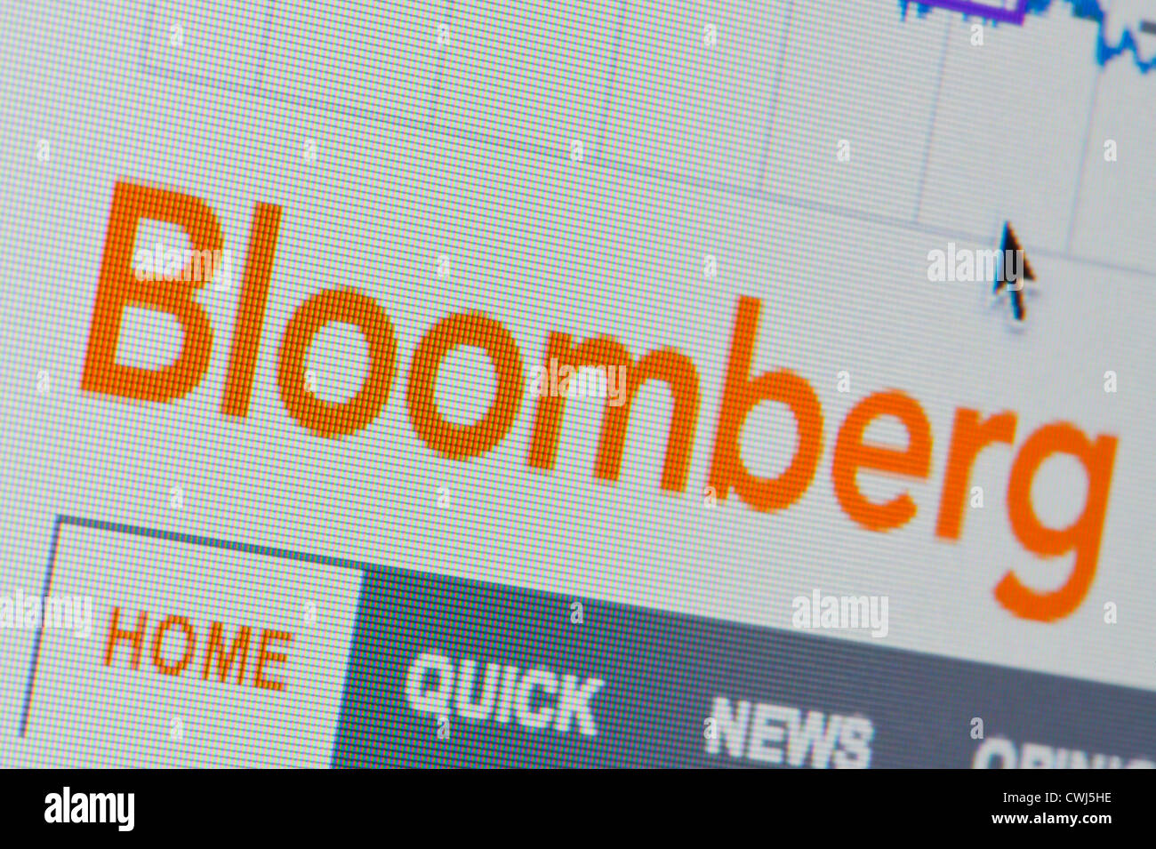 Close up of the Bloomberg logo as seen on its website. (Editorial use only: ­print, TV, e-book and editorial - Stock Image