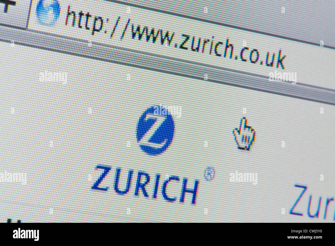 Close up of the Zurich Insurance Group logo as seen on website. (Editorial use only: ­print, TV, e-book and - Stock Image