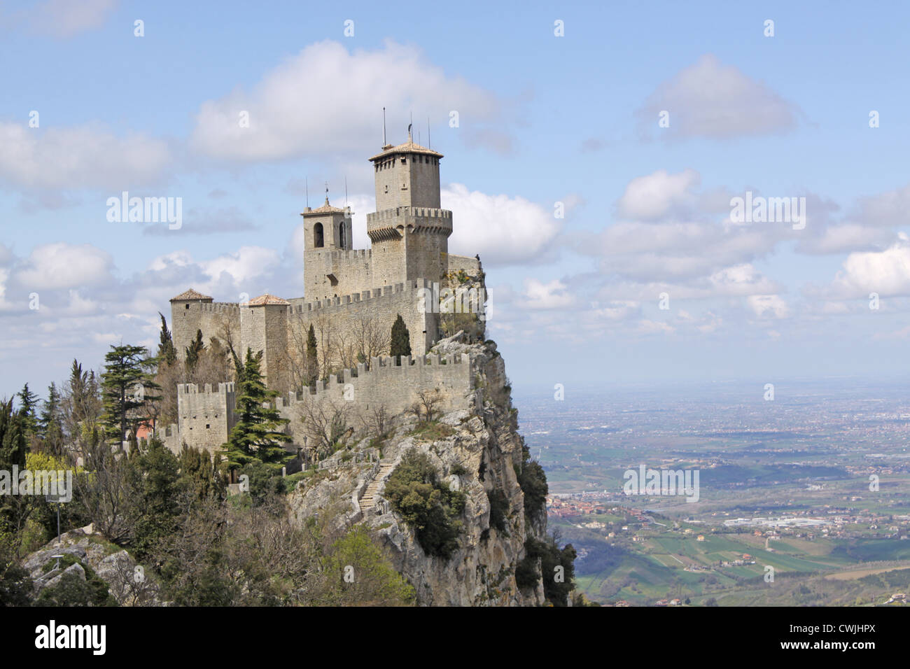 San marino Mount Titano Castle - Stock Image
