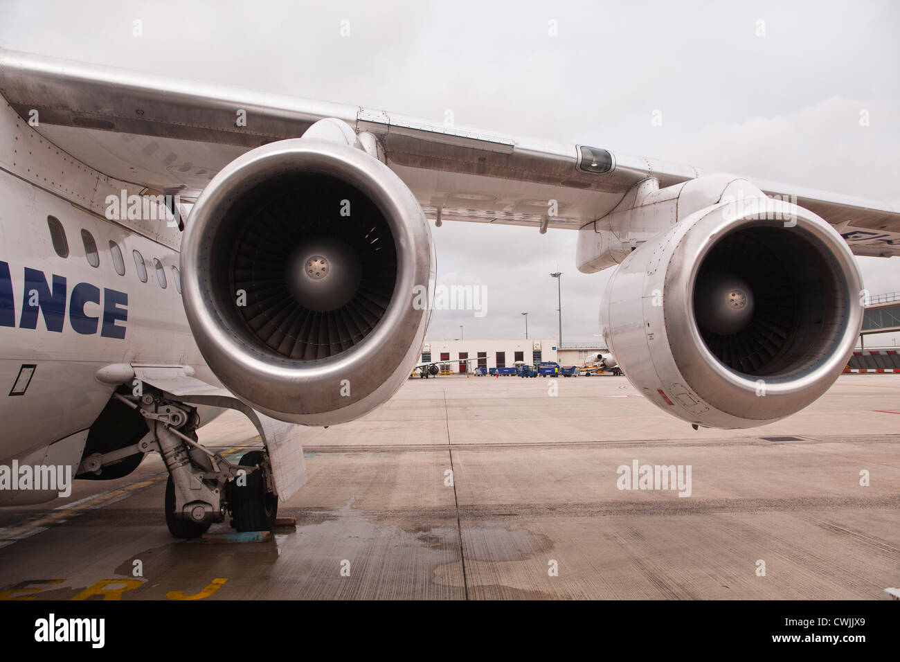 A CityJet operated by Air France waits departure. - Stock Image