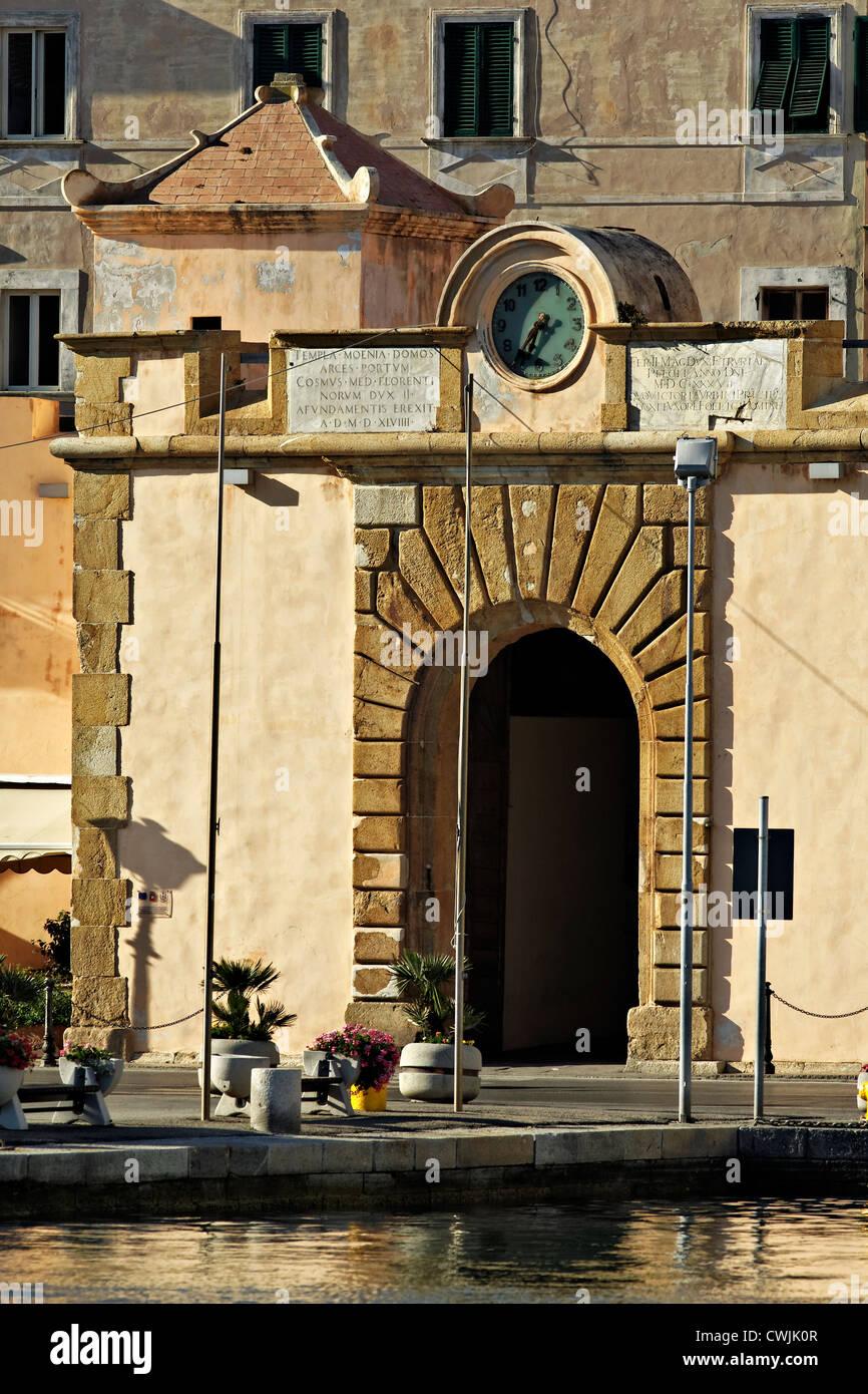 Town centre entrance gate, Portoferraio Elba Tuscany Italy - Stock Image