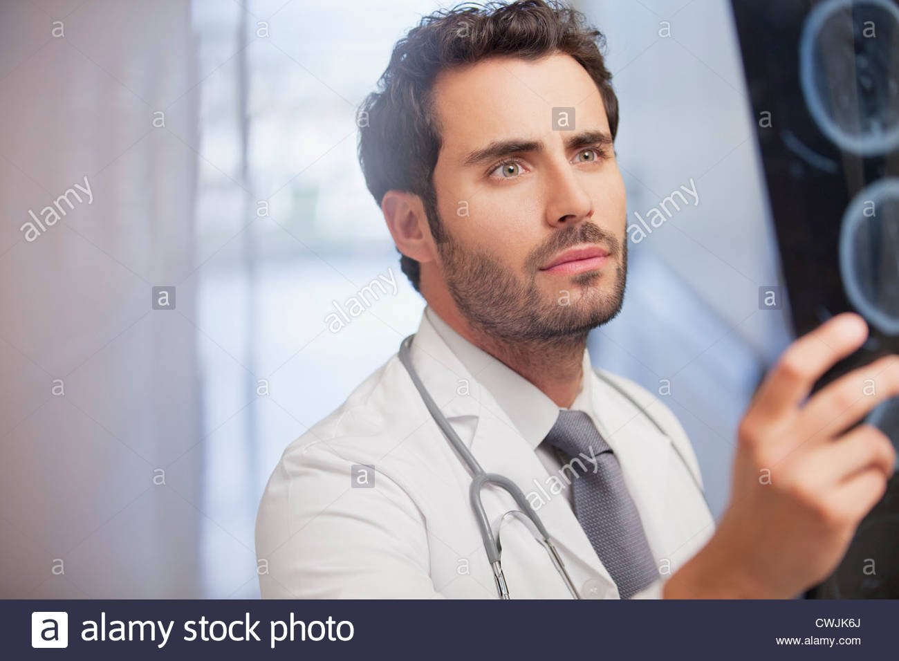 Serious doctor examining x-rays in hospital corridor - Stock Image