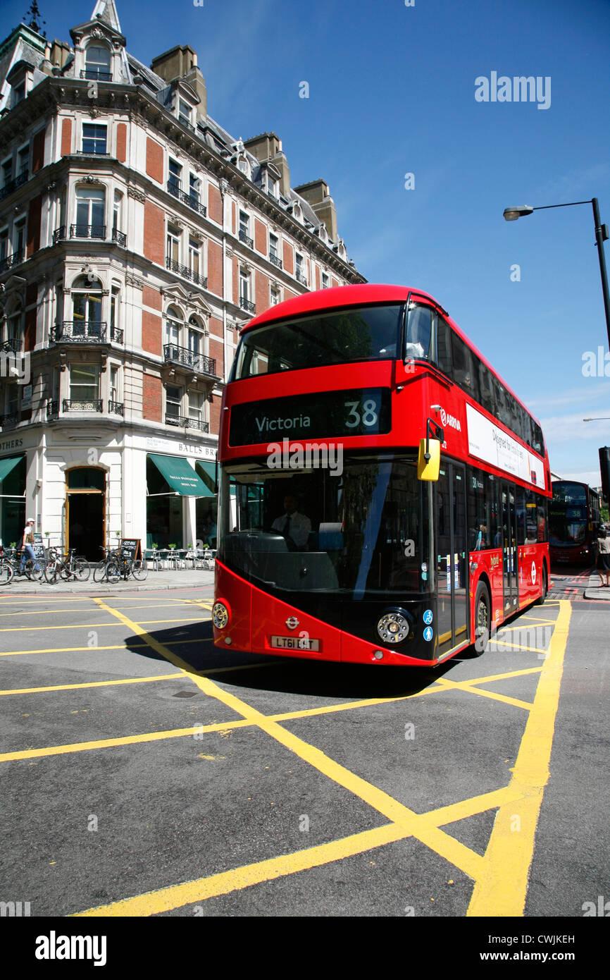 New Routemaster bus on Buckingham Palace Road, Victoria, London, UK - Stock Image