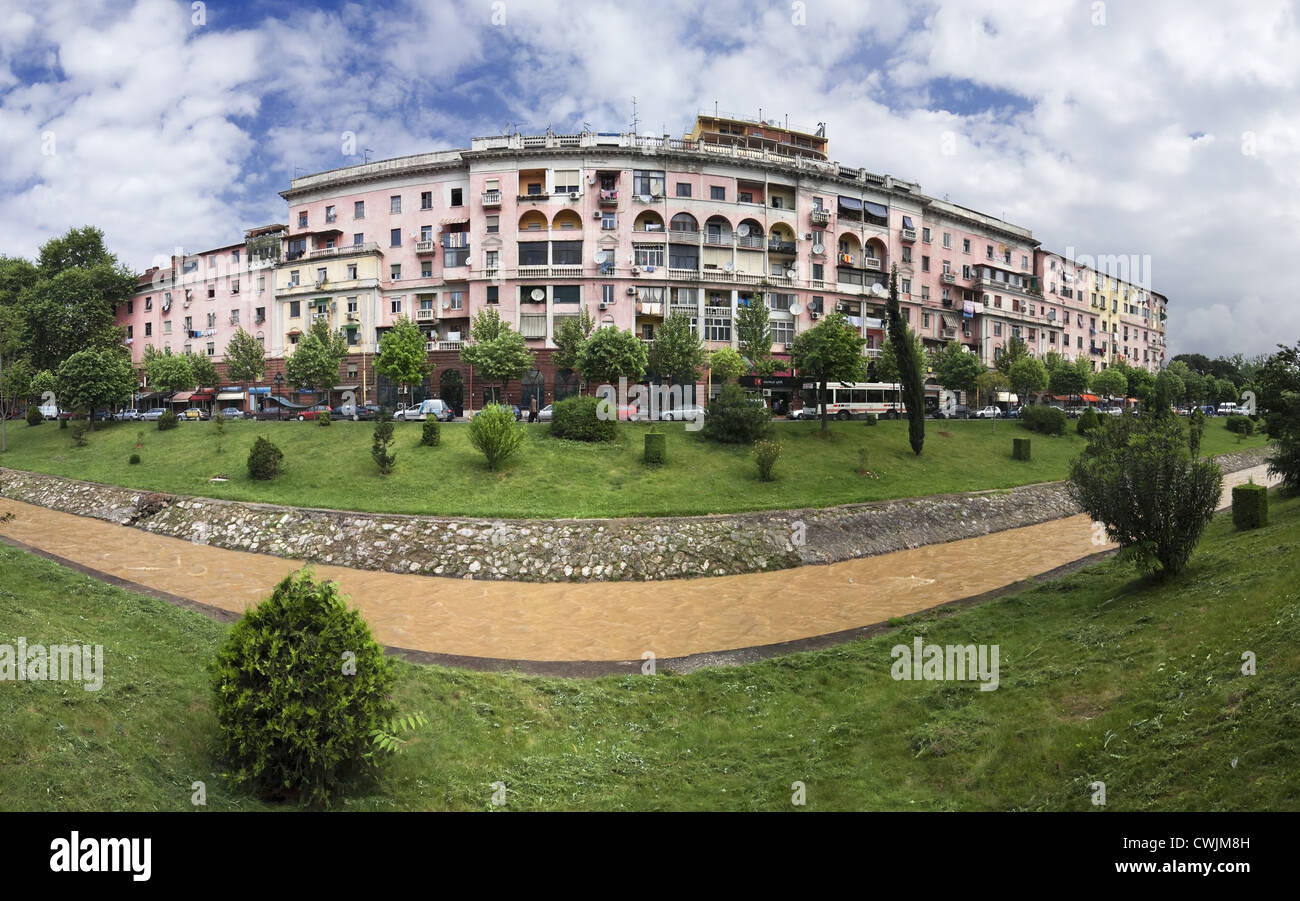 Housing Blocks on Bulevardi Gjergj Fishta near Parku Rinia - Stock Image