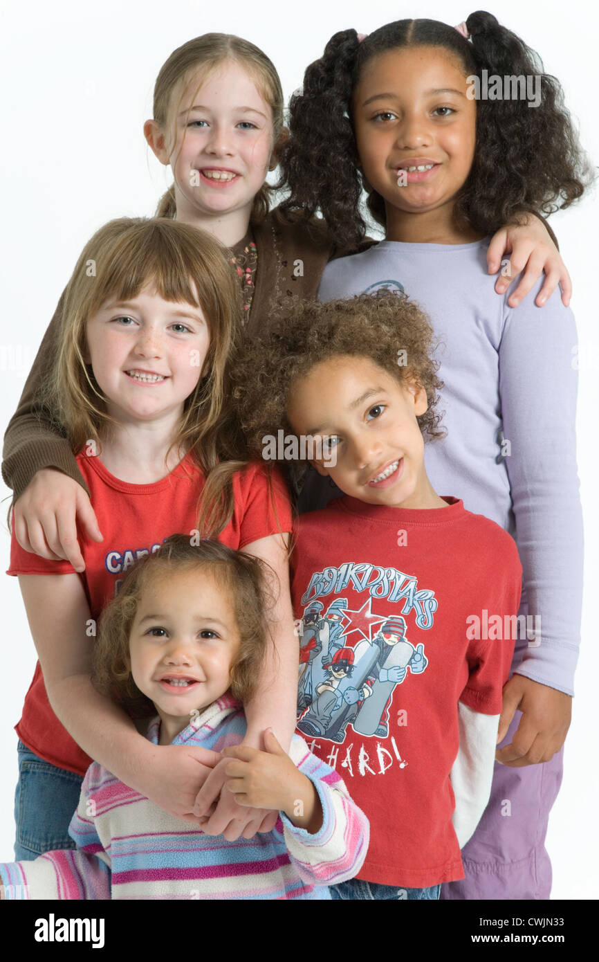 Multiracial group of children smiling, - Stock Image