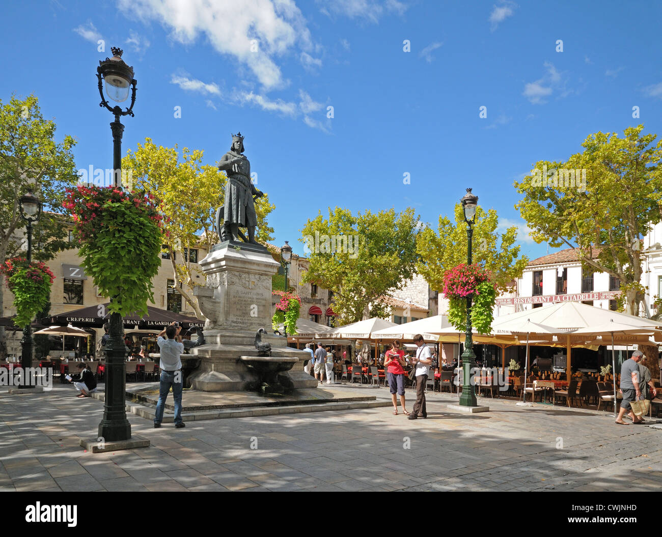 place saint louis in aigues mortes france with market stalls ornate