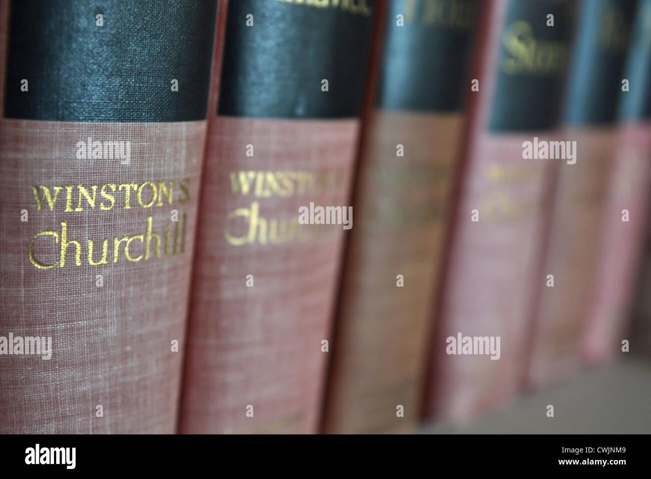 Vintage Winston Churchill Books Stock Photo
