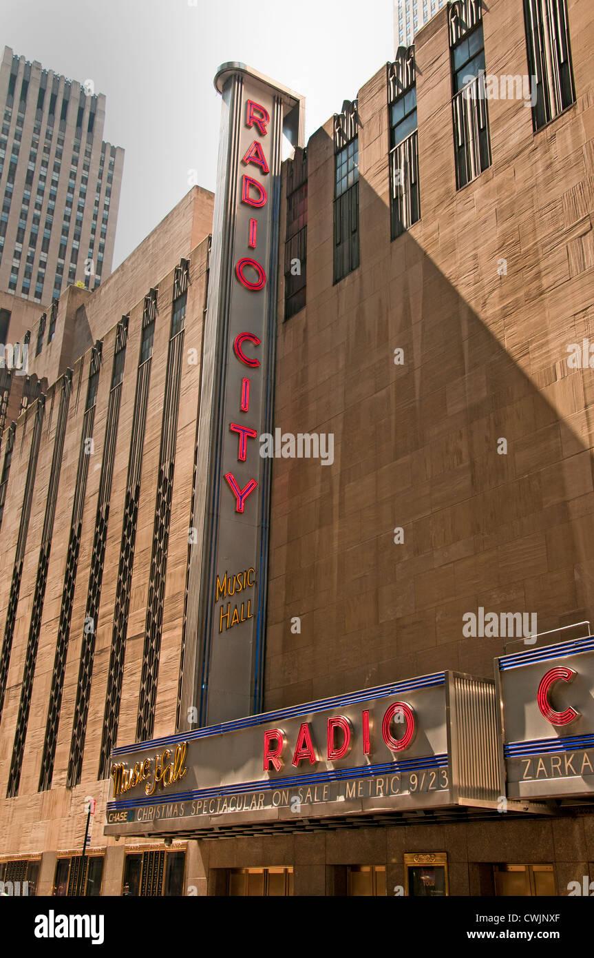 New York City New York Radio City Music Hall  Manhattan American - Stock Image