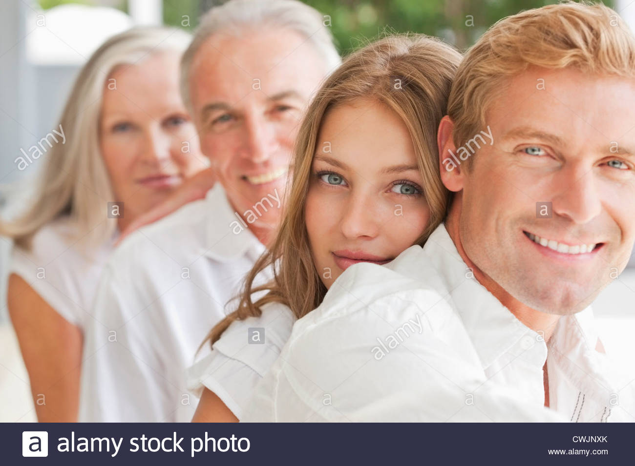Portrait of smiling family - Stock Image