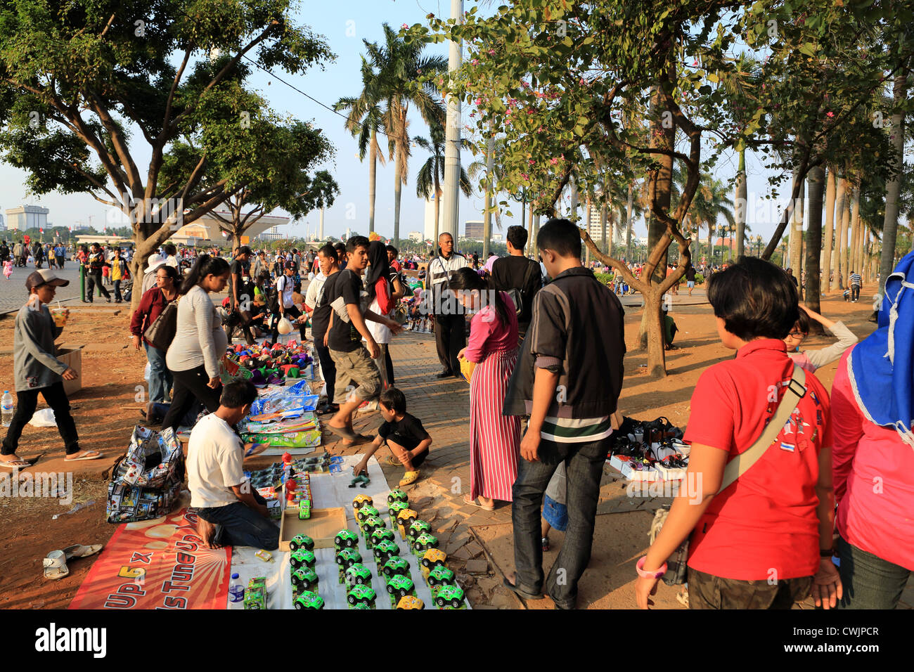 Market stalls in Merdeka Square during Ramadan celebrations. - Stock Image
