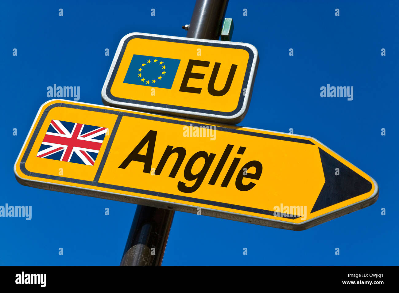European Union and flag of England - Stock Image