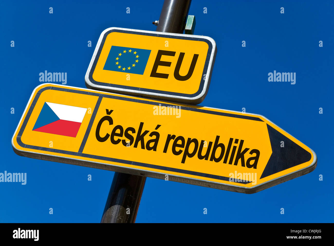 European Union and flag of Czech Republic - Stock Image