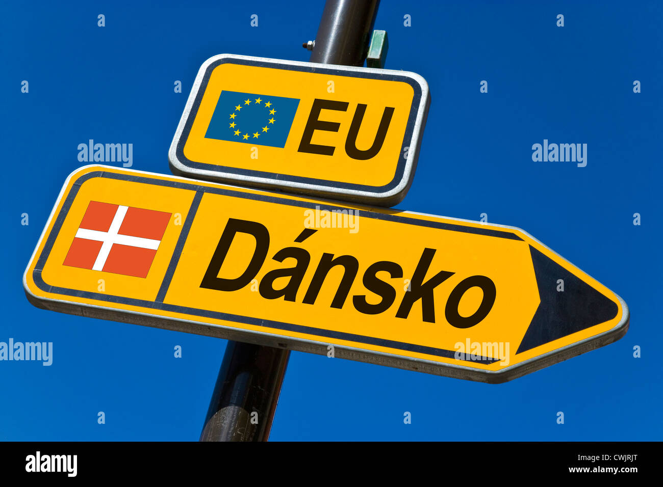 European Union and flag of Denmark - Stock Image