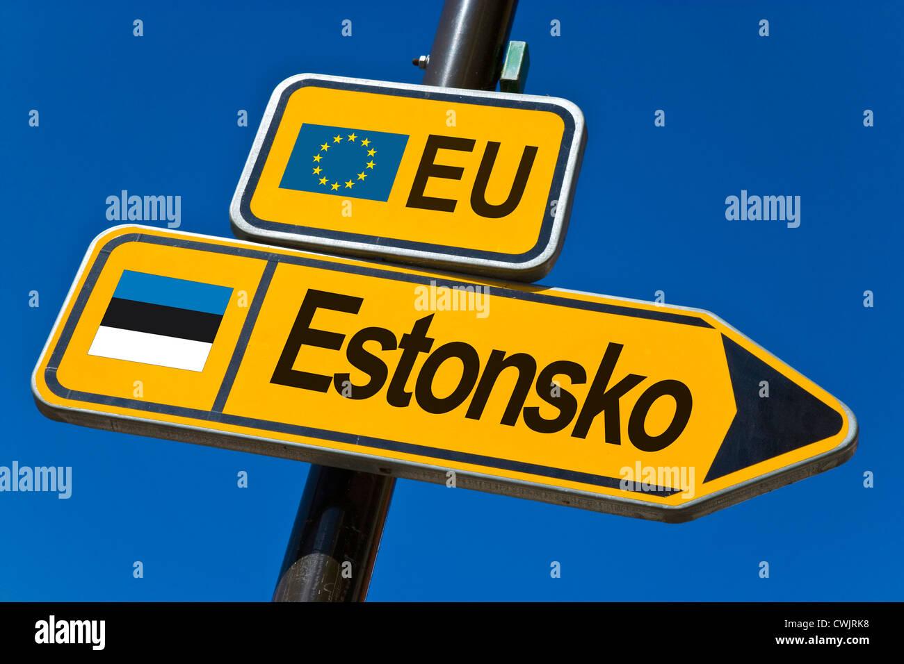 European Union and flag of Estonia - Stock Image