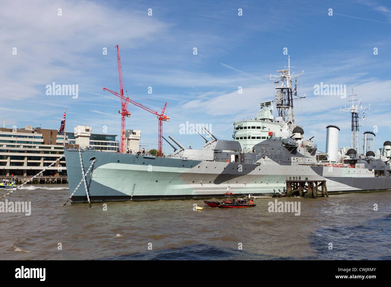 HMS Belfast,The Queen's Walk,London, UK - Stock Image