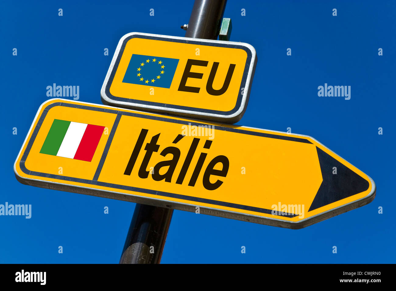 European Union and flag of  Italy - Stock Image