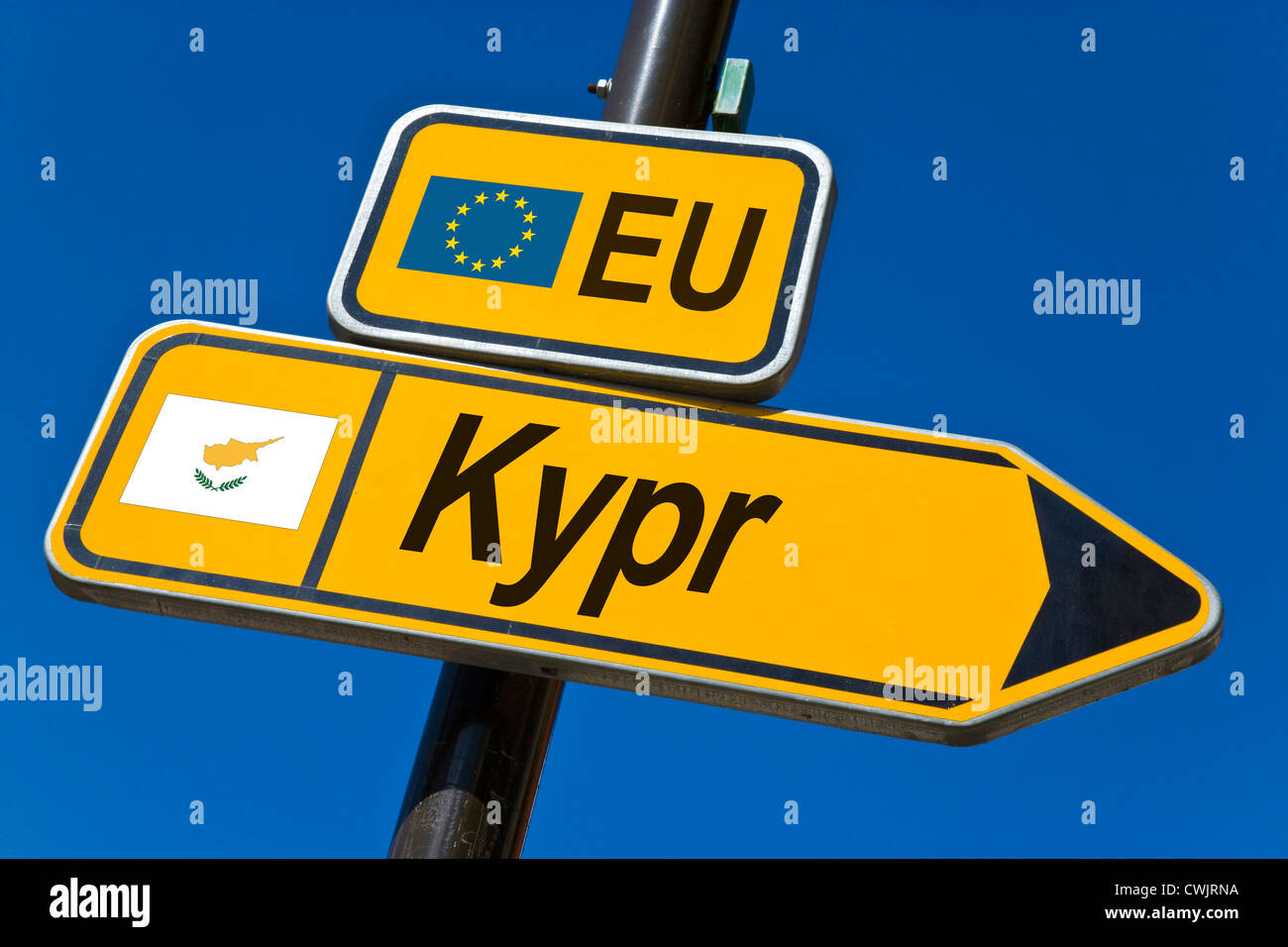 European Union and flag of  Cyprus - Stock Image