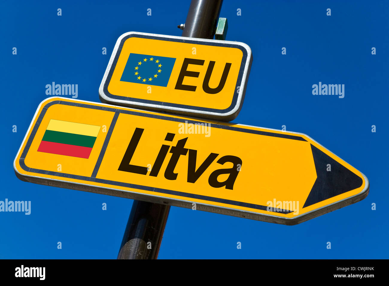 European Union and flag of  Lithuania - Stock Image