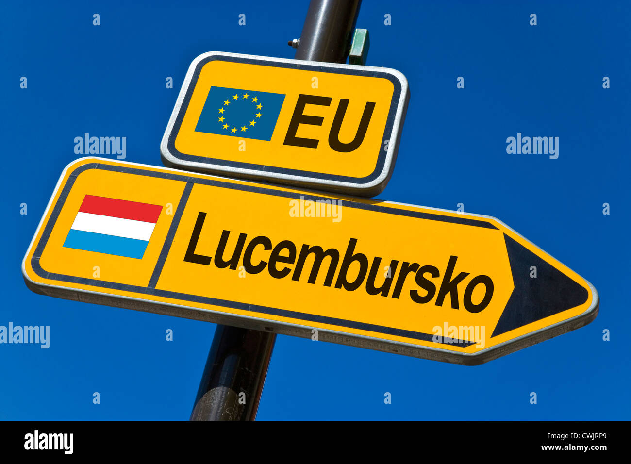 European Union and flag of  Luxembourg - Stock Image