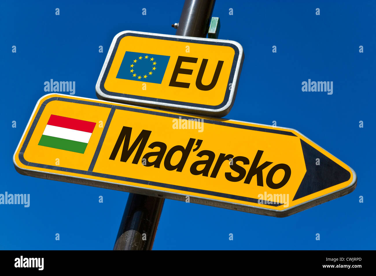 European Union and flag of  Hungary - Stock Image