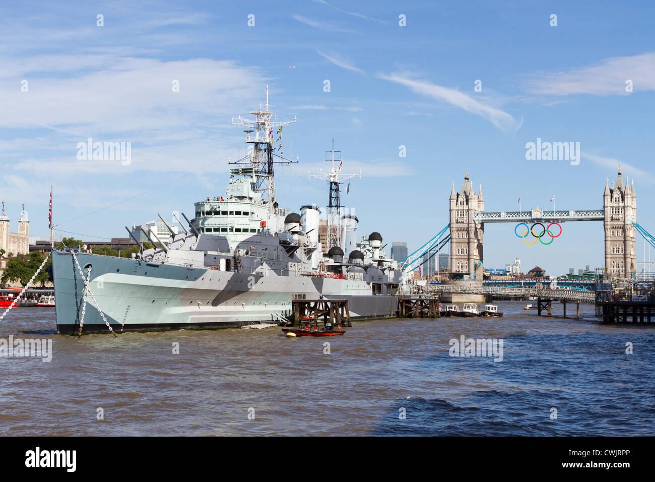 HMS Belfast,Tower Bridge,The Queen's Walk,London, UK - Stock Image