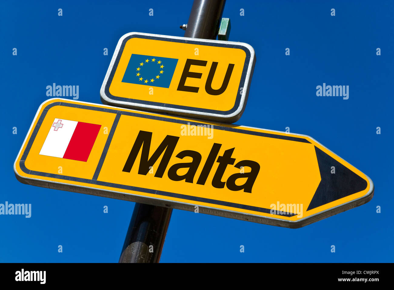 European Union and flag of  Malta - Stock Image