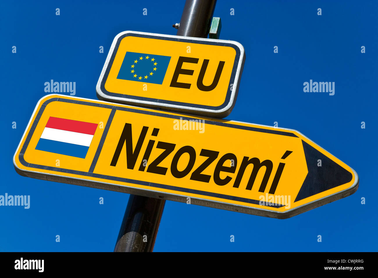 European Union and flag of  Netherlands - Stock Image