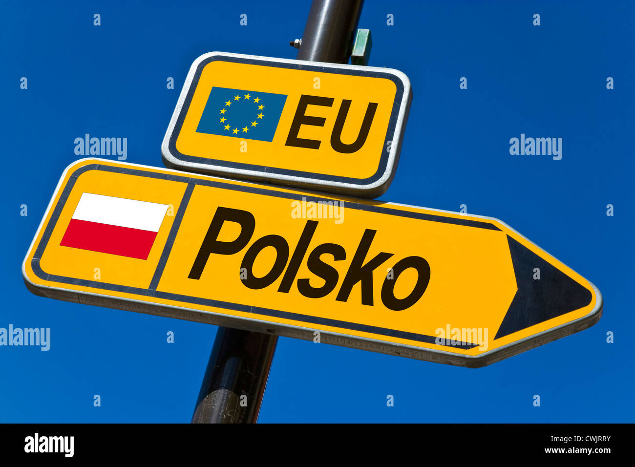 European Union and flag of  Poland - Stock Image