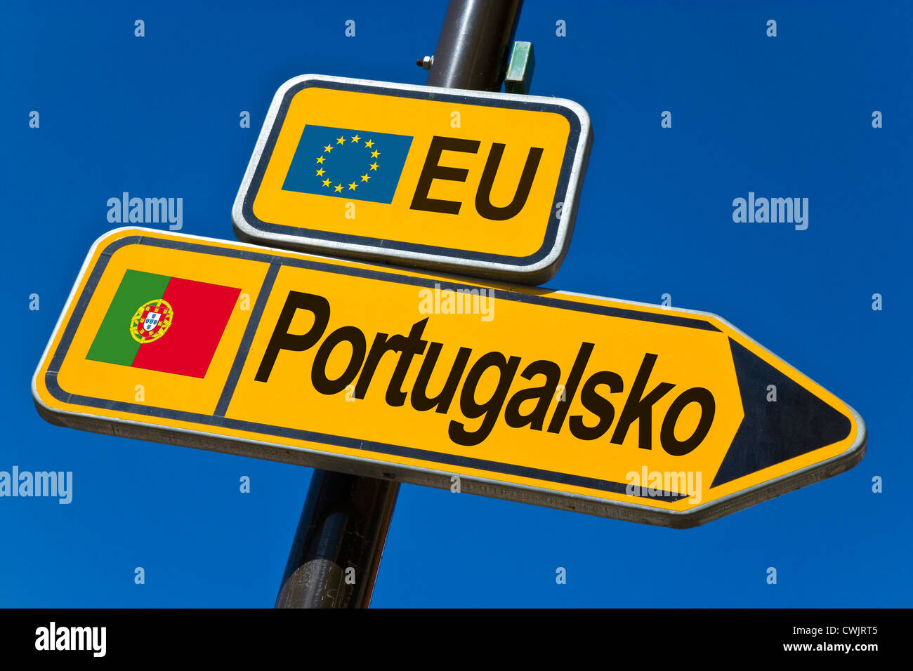 European Union and flag of  Portugal - Stock Image