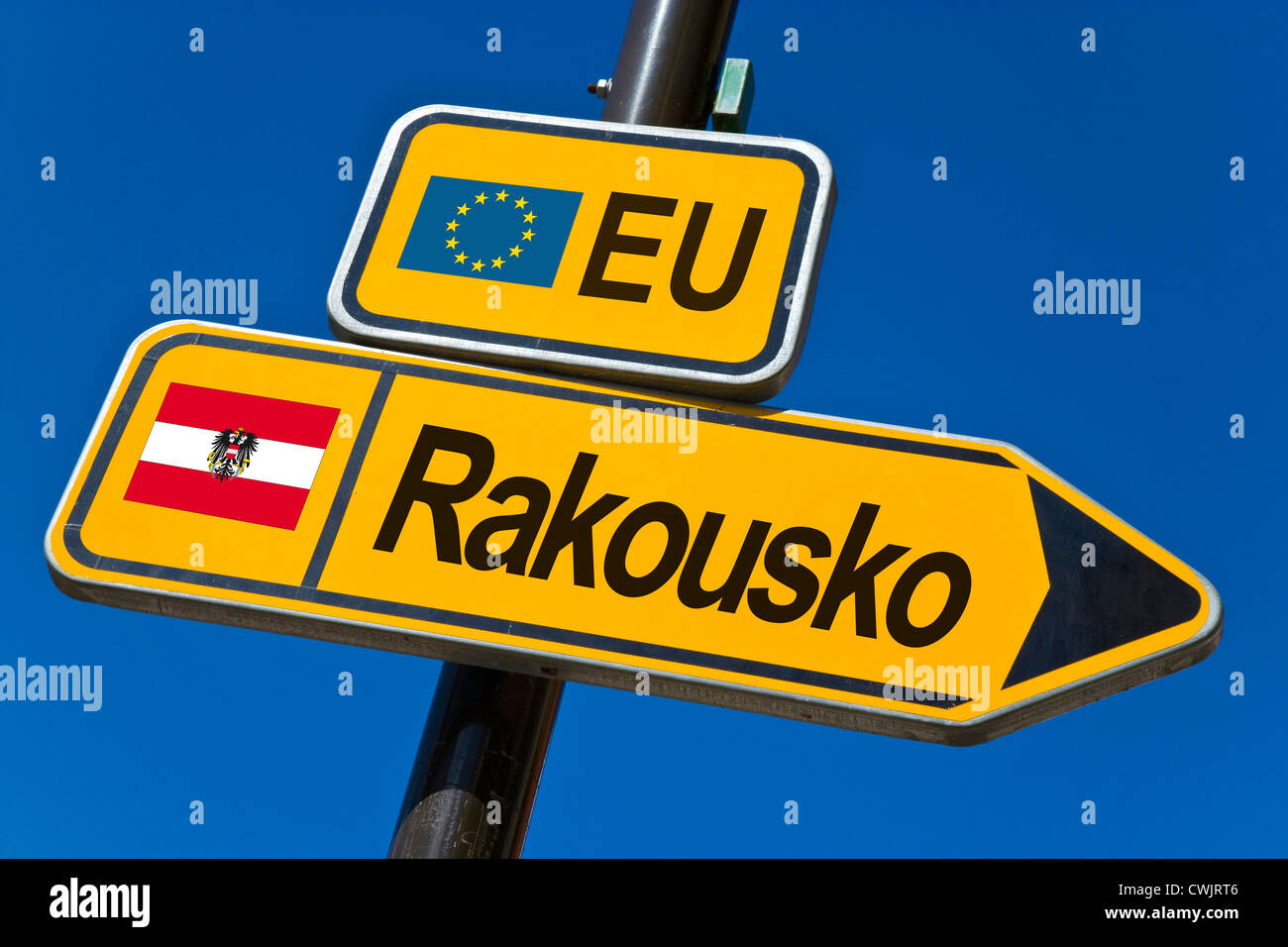 European Union and flag of  Austria - Stock Image