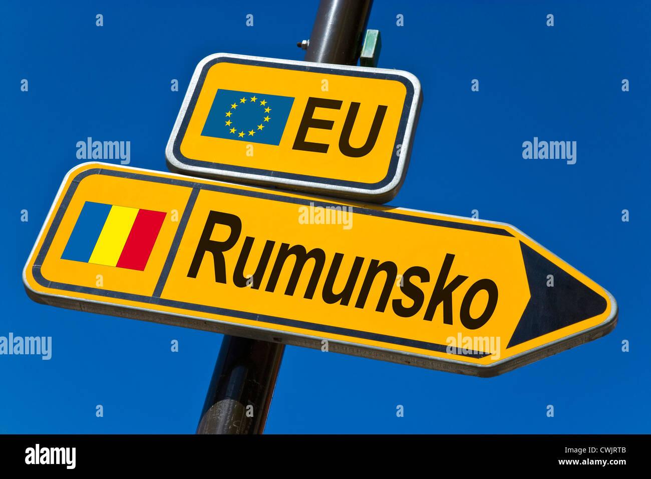 European Union and flag of  Romania - Stock Image