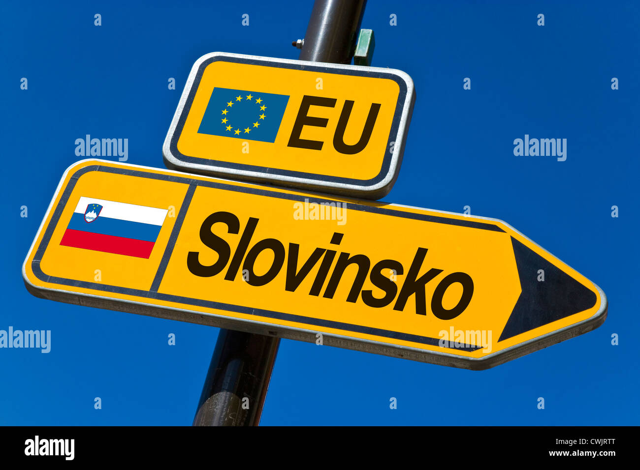 European Union and flag of  Slovenia - Stock Image