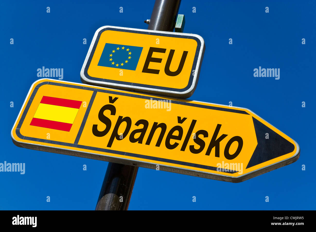 European Union and flag of  Spain - Stock Image