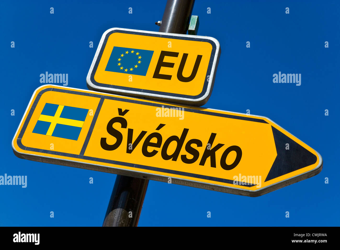 European Union and flag of  Sweden - Stock Image