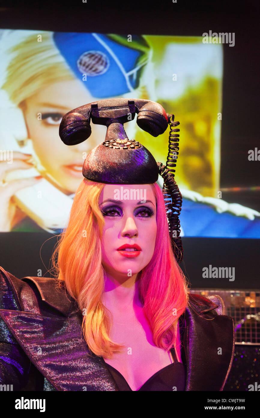 England, London, Madame Tussauds, Waxwork Display of Lady Gaga - Stock Image