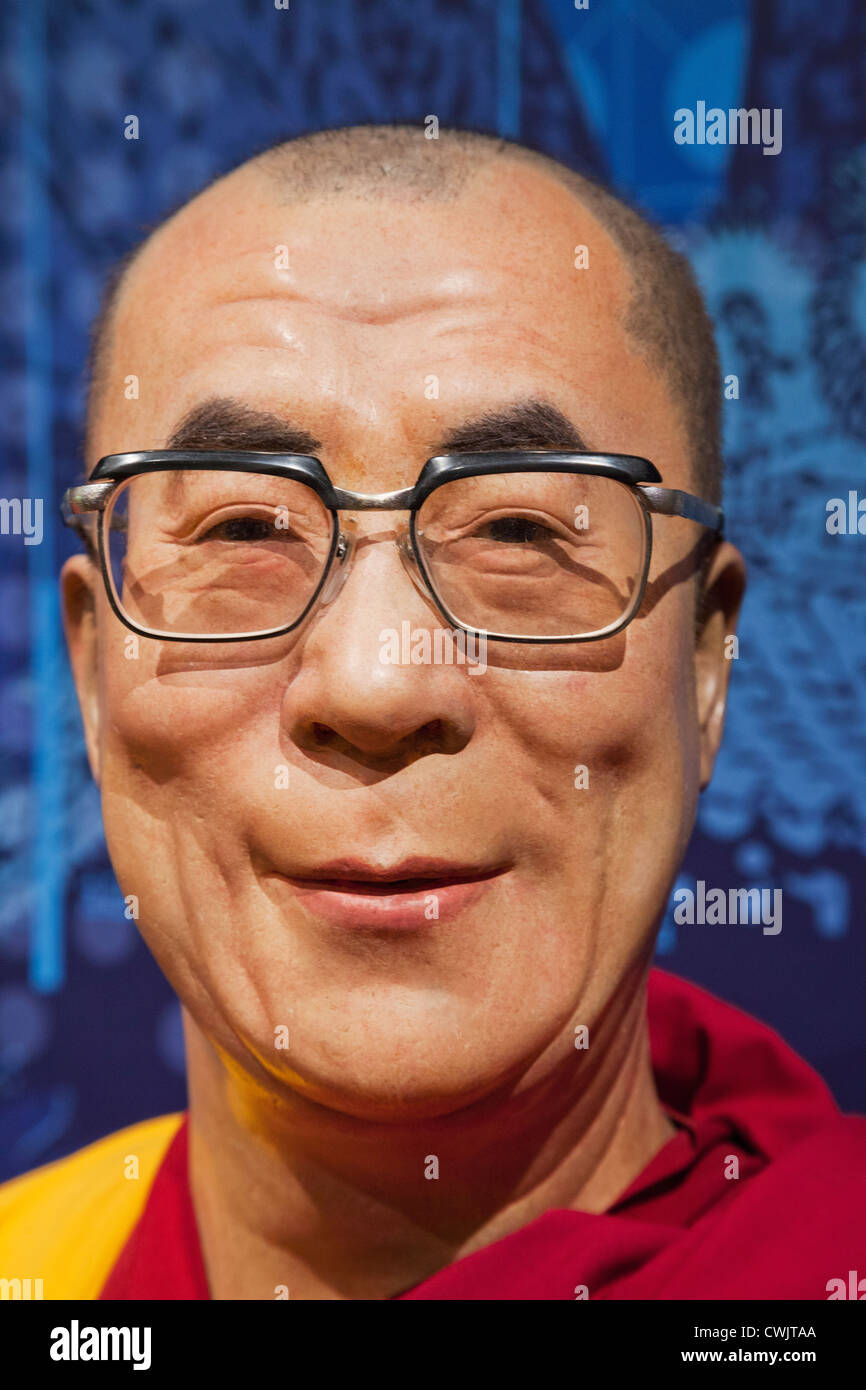 England, London, Madame Tussauds, Waxwork Display of The Dalai Lama - Stock Image