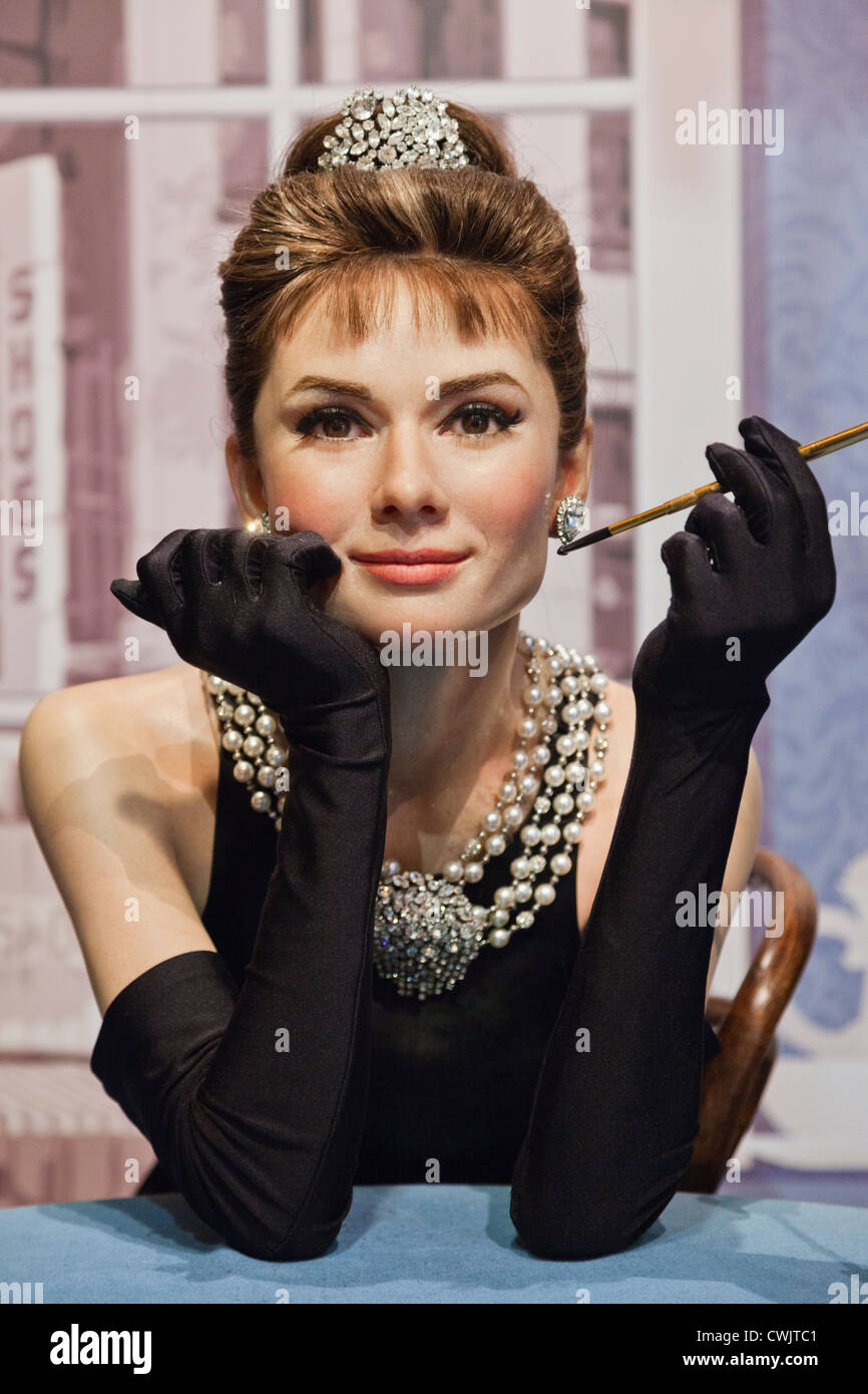 England,London,Madame Tussauds,Waxwork Display of Audrey Hepburn - Stock Image