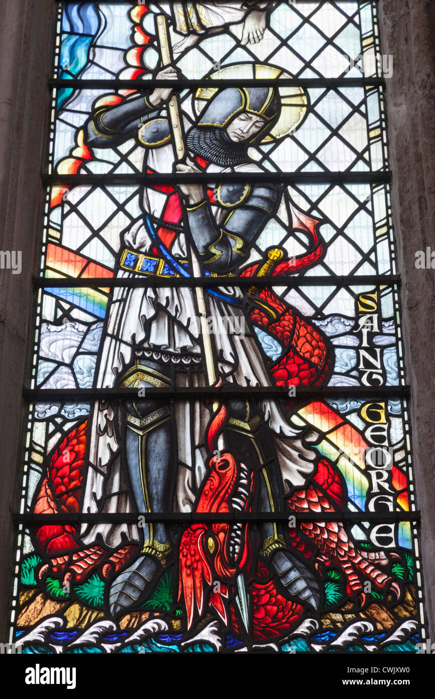 England, London, The City, St Olave Hart Street Church, Stained Glass Window depicting St George and The Dragon - Stock Image