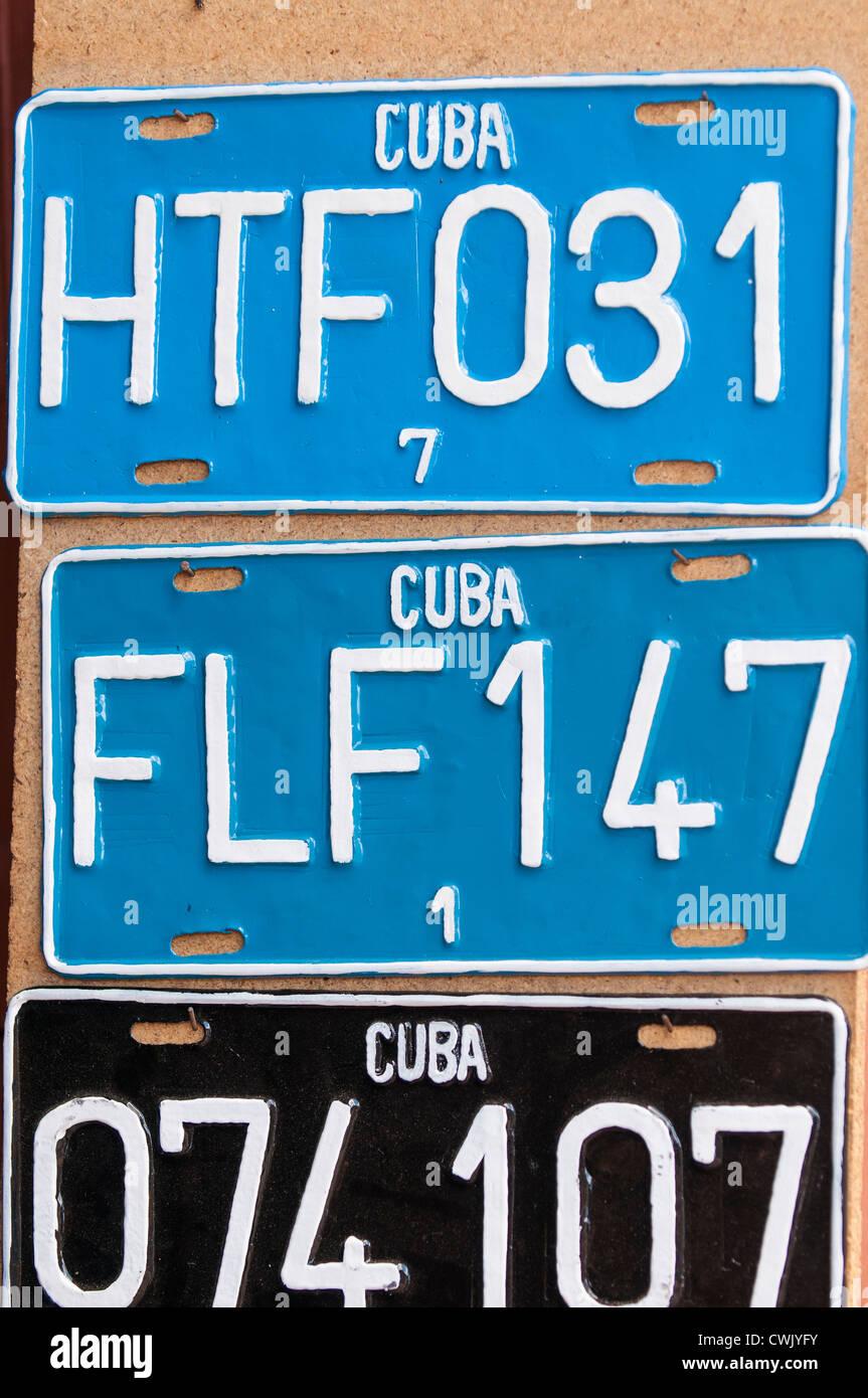 Old car license plates in street market, Trinidad, Cuba, UNESCO ...