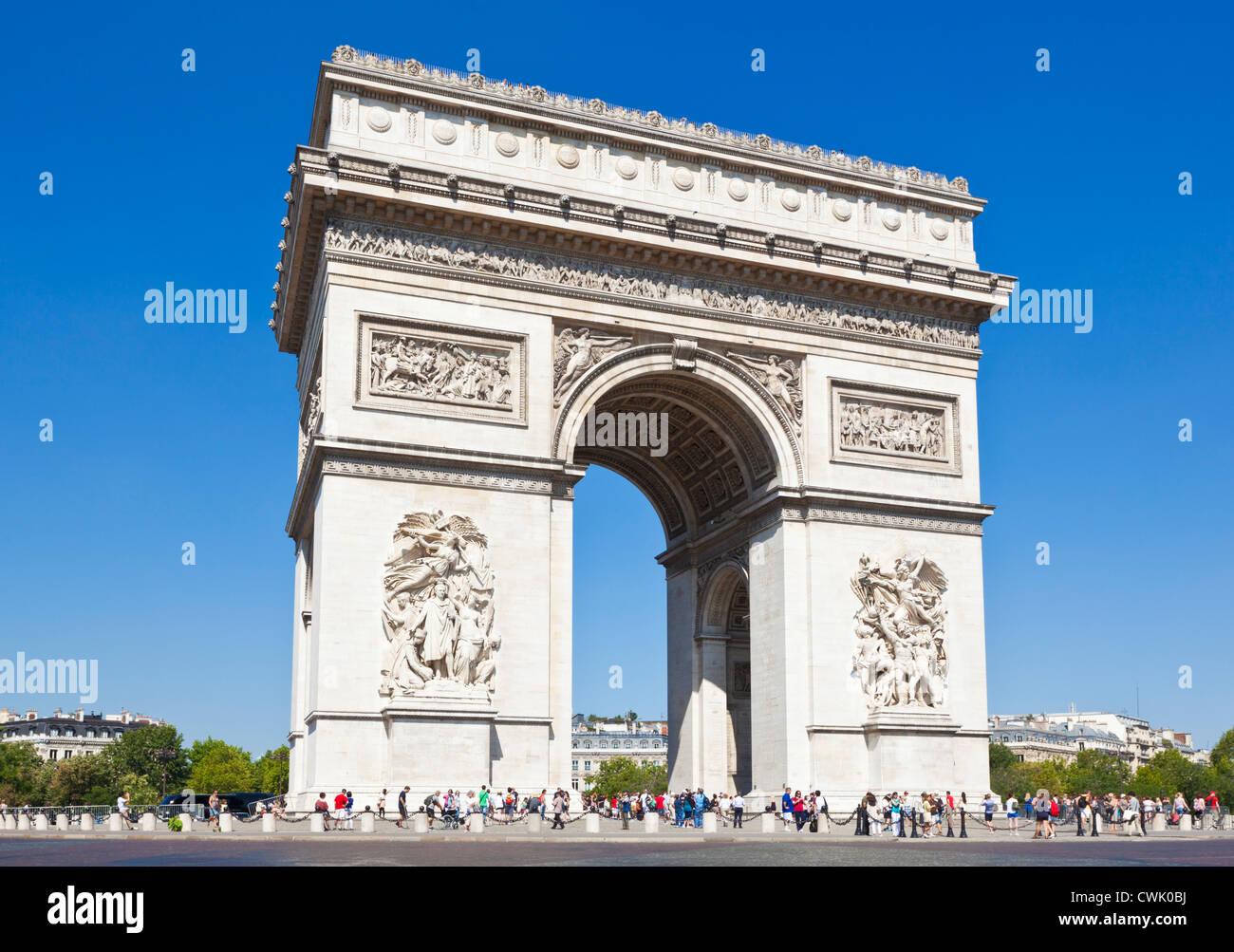 Napoleons Arc de Triomphe and the Champs Elysees Paris France EU Europe - Stock Image