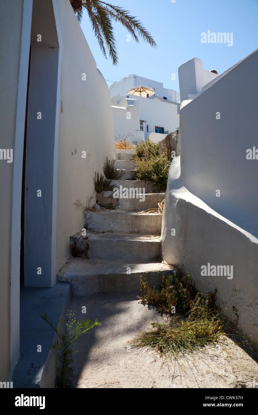 Run down Greece, lack of tourism in Thira, Santorini, Greece, Greek Island, causes neglect - Stock Image